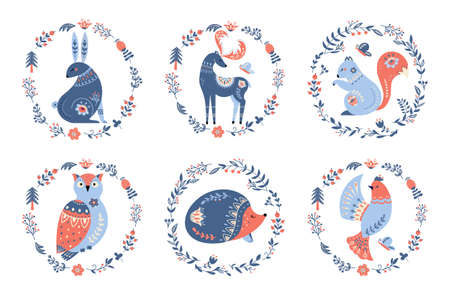 Scandinavian nordic folk forest animals vector set