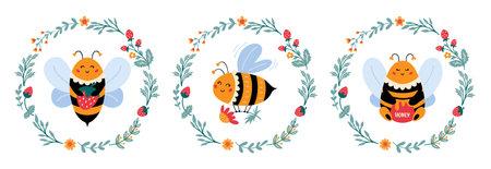 Bee vector set in cartoon style Cute bumblebee 矢量图像