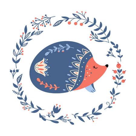Vector hedgehog in scandinavian style Folk forest animal 矢量图像