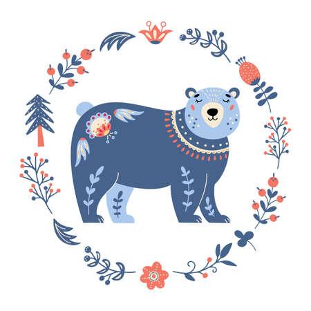 Vector bear in scandinavian style Folk forest animal