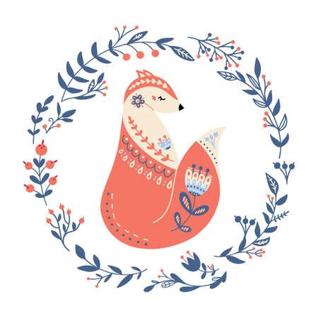 Vector fox in scandinavian style Folk forest animal 矢量图像