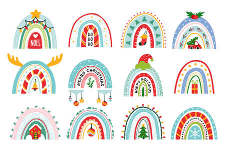Christmas rainbow vector set xmas Winter pattern 矢量图像