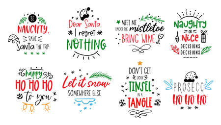 Christmas funny quotes Vector card text about Santa 矢量图像