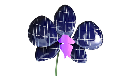 interesting: Orchid Solar Panel Concept 3D Rendering isolated on a white background Stock Photo