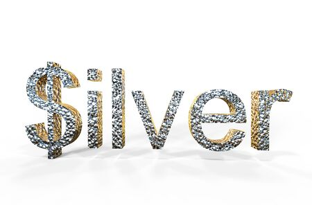 overvalued: 3d rendering of silver written with dollar S on a white background