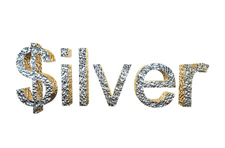 overvalued: 3d rendering of silver written with dollar S isolated on a white background