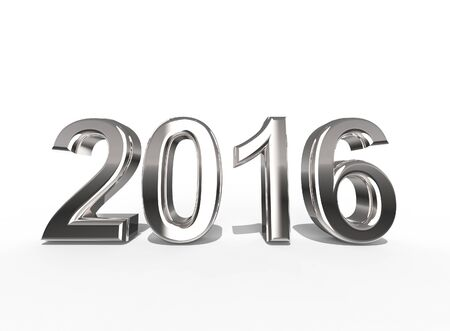 overvalued: 2016 In Silver Coating on a white background the year of gold Stock Photo