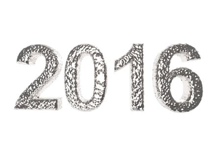 overvalued: 2016 In Silver Coating isolated on a white background the year of gold