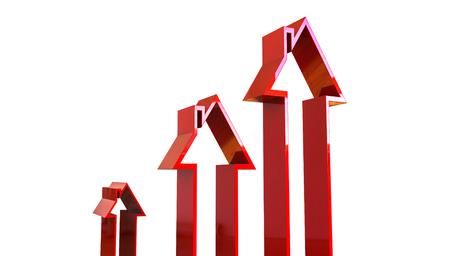 monopolio: La flecha con forma de casa, se puede usar como un diagrama para mostrar el aumento de los precios del mercado de la casa