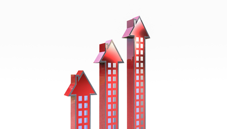 Arrow with the shape of  house, can be used as a diagram to show increased house market prices