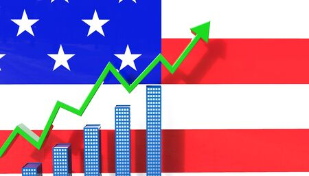 investment real state: House Market Prices Graph Concept 3D Illustration with the USA flag in the background Foto de archivo