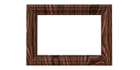 3d rendering of cool isolated modern hanging dark walnut color photo frame on a white background