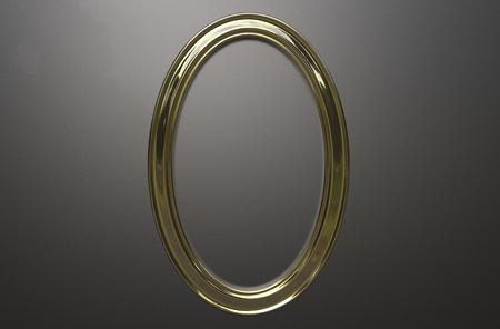 3d rendering of cool modern hanging gold color oval shape photo frame on a grey background Stock Photo