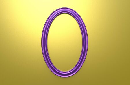 3d rendering of cool modern hanging purple color oval shape photo frame on a yellow background