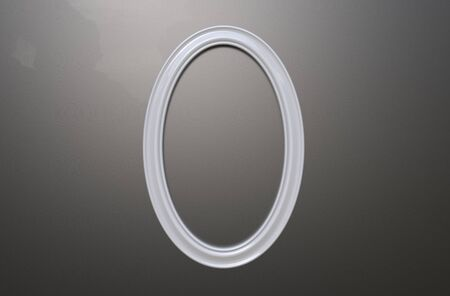 3d rendering of cool modern hanging white color oval shape photo frame on a grey background