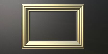 3d rendering of cool modern hanging metallic gold color photo frame on a black background Imagens