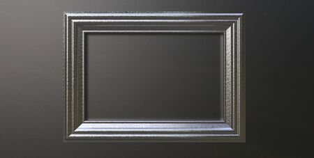 3d rendering of cool modern hanging metallic silver color photo frame on a black background
