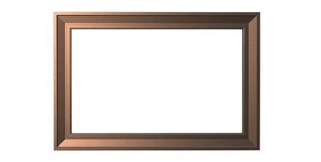 3d rendering of cool modern isolated hanging dark copper color photo frame on a white background