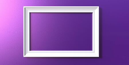 3d rendering of cool modern hanging white color photo frame on a purple background