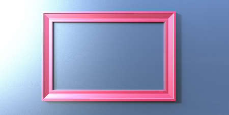 3d rendering of cool modern  hanging pink color photo frame on a blue background