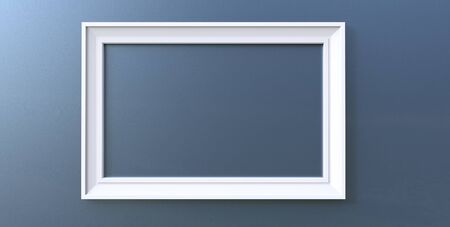3d rendering of cool modern hanging white color photo frame on a blue background