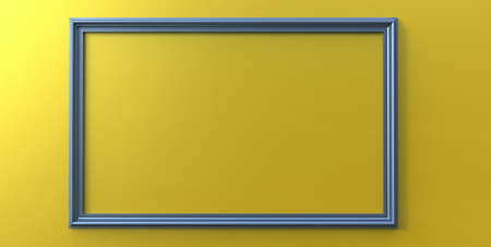 3d rendering of cool modern hanging blue steel color photo frame on a yellow background