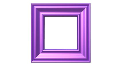 3d rendering of cool isolated modern hanging shiny purple color photo frame on a white background