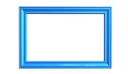 3d rendering of cool modern isolated hanging blue color photo frame on a white background