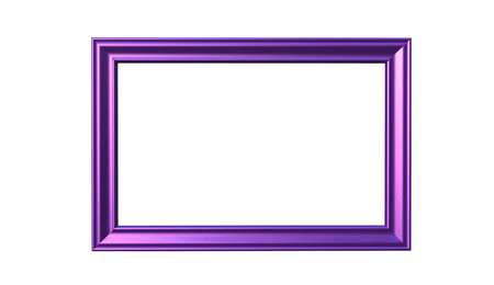 3d rendering of cool modern isolated hanging purple color photo frame on a white background