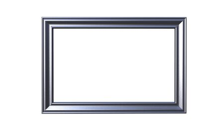 3d rendering of cool modern isolated hanging metallic color photo frame on a white background Stock Photo