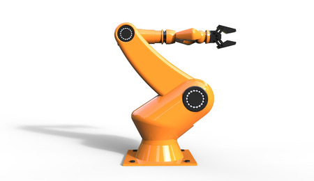 3d rendering of cool futuristic industrial orange color robotic arm on a white  background Stock Photo
