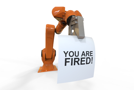 3d rendering of cool isolated  futuristic industrial orange color robotic arm with a dismissal note Imagens