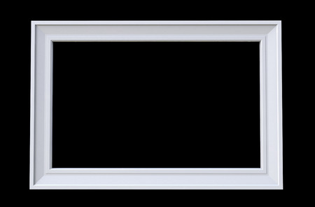3d rendering of cool isolated modern hanging white color rectangle shape photo frame on a black  background