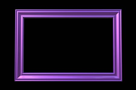 3d rendering of cool isolated modern hanging purple  color rectangle shape photo frame on a black  background