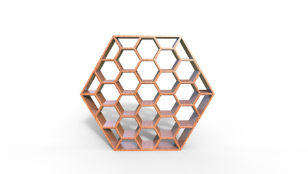 3d illustration of  a  brown  beehive bookcase on a white  background in a room Stock Photo