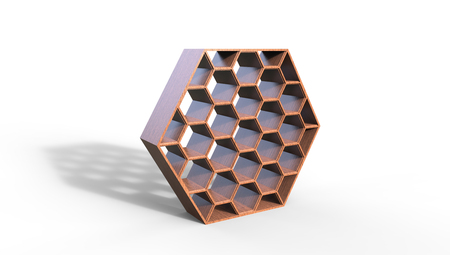 3d illustration of  a  brown  beehive bookcase on a white  background in a room from an angle Stock Photo