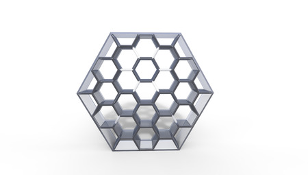 3d illustration of  a  silver  beehive bookcase on a white  background in a room Stock Photo