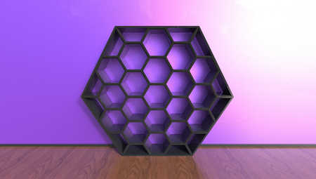 3d illustration of beehive shaped bookcase on a purple background in a room