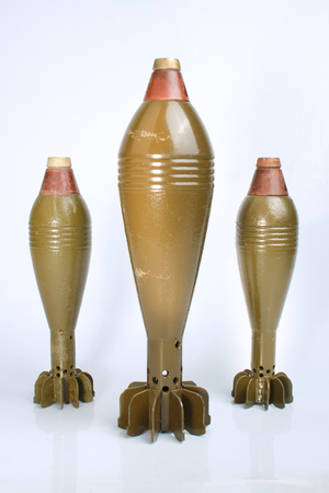 Three mortars on a white background