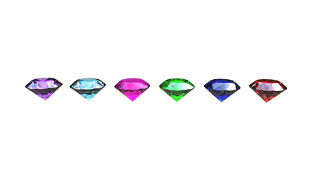 3d illustration of different gem stones on a white background