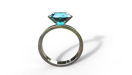 zircon: 3D illustration of a blue zircon ring in silver on a white background Stock Photo