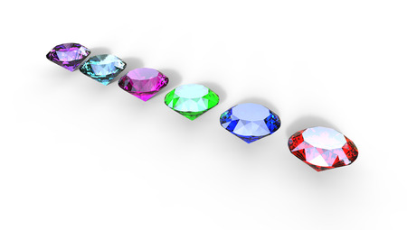 size: 3d illustration of different gem stones on a white background from above