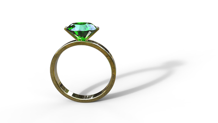 3D illustration of an emerald ring in gold on a white background