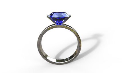 3d illustartion of a blue topaz ring   in silver on a white background Stock Photo