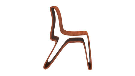 3d render of oak plywood chair isolated on a white background Stock Photo