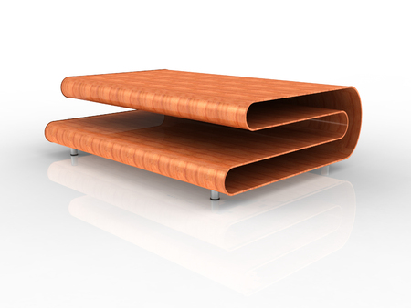 transcendent: 3d Render of a modern plywood table with white background Stock Photo