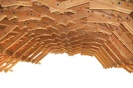 Wood Roof Structurewith a blue sky Stock Photo