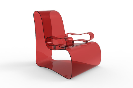 one of a kind: Render of a Modern Acrylic armchair isolated on a white background Stock Photo