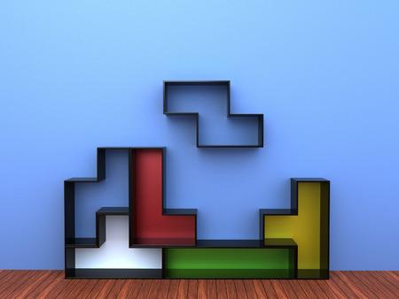 3d render of Tetris Shelf Unit Stock Photo