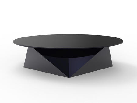 Render of a oragami style coffee table with a white background